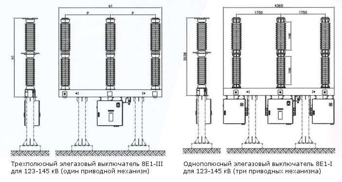 Габариты трехполюсного выключателя