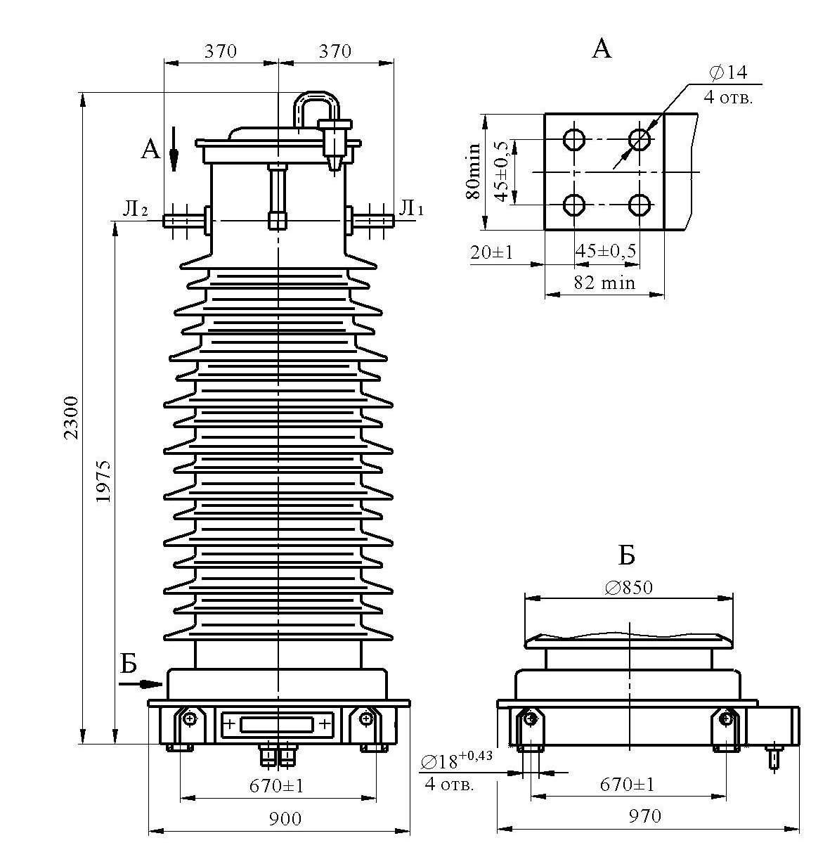 Трансформатор тока ТФЗМ 132 Б –Т1
