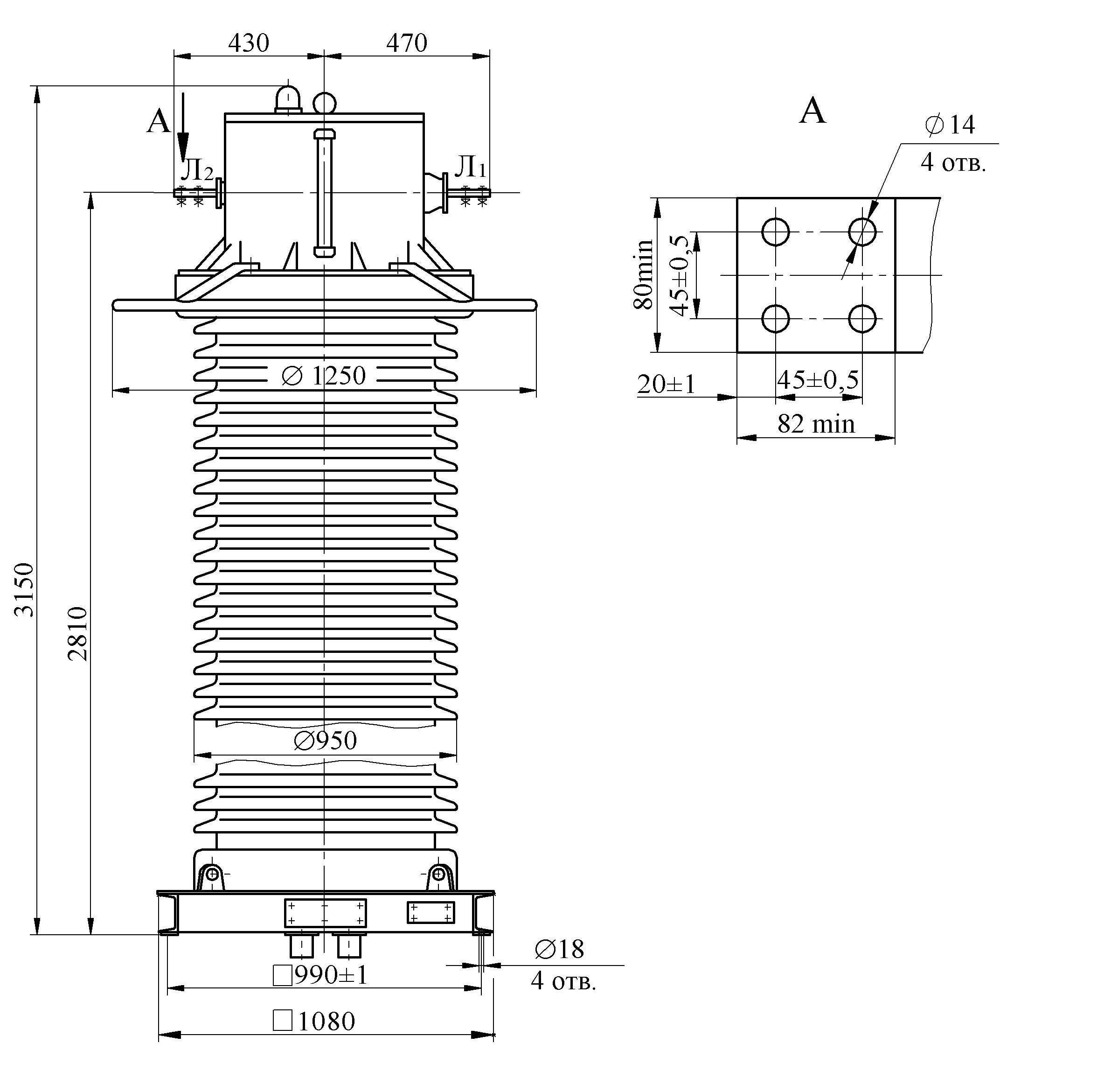 Трансформатор тока ТФЗМ 220 Б – III У1