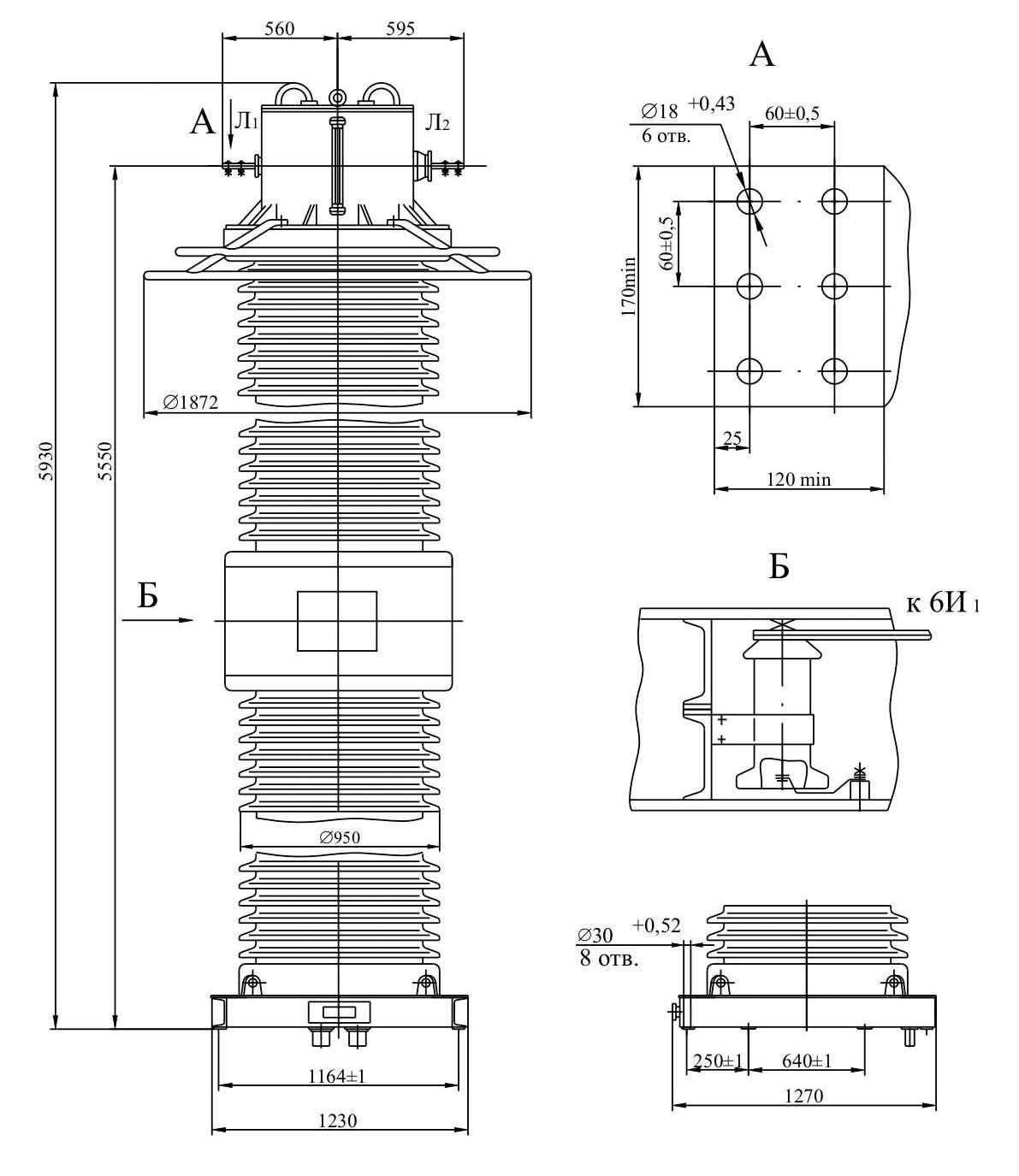 Трансформатор тока ТФЗМ 500 Б – I У1