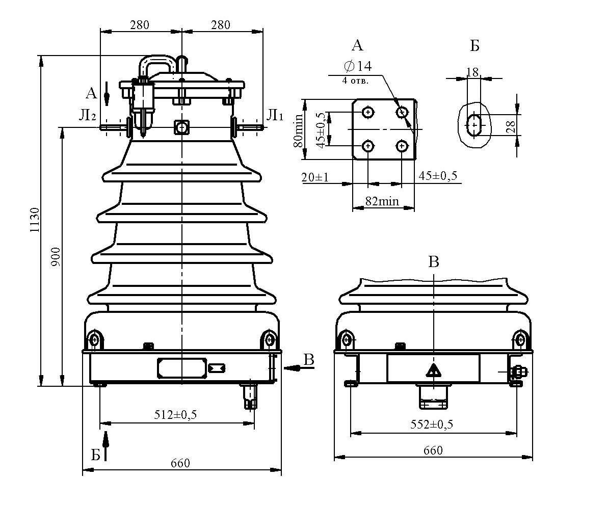 Трансформатор тока ТФЗМ 35 Б–I ХЛ1