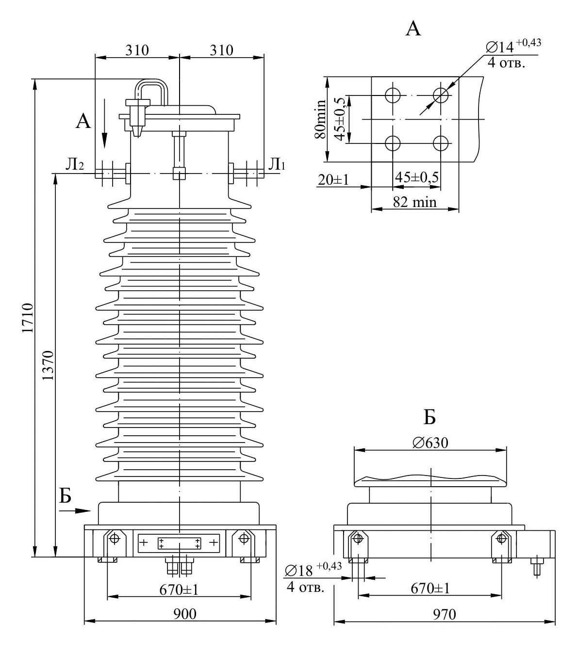 Трансформатор тока ТФЗМ 66 В – Т1
