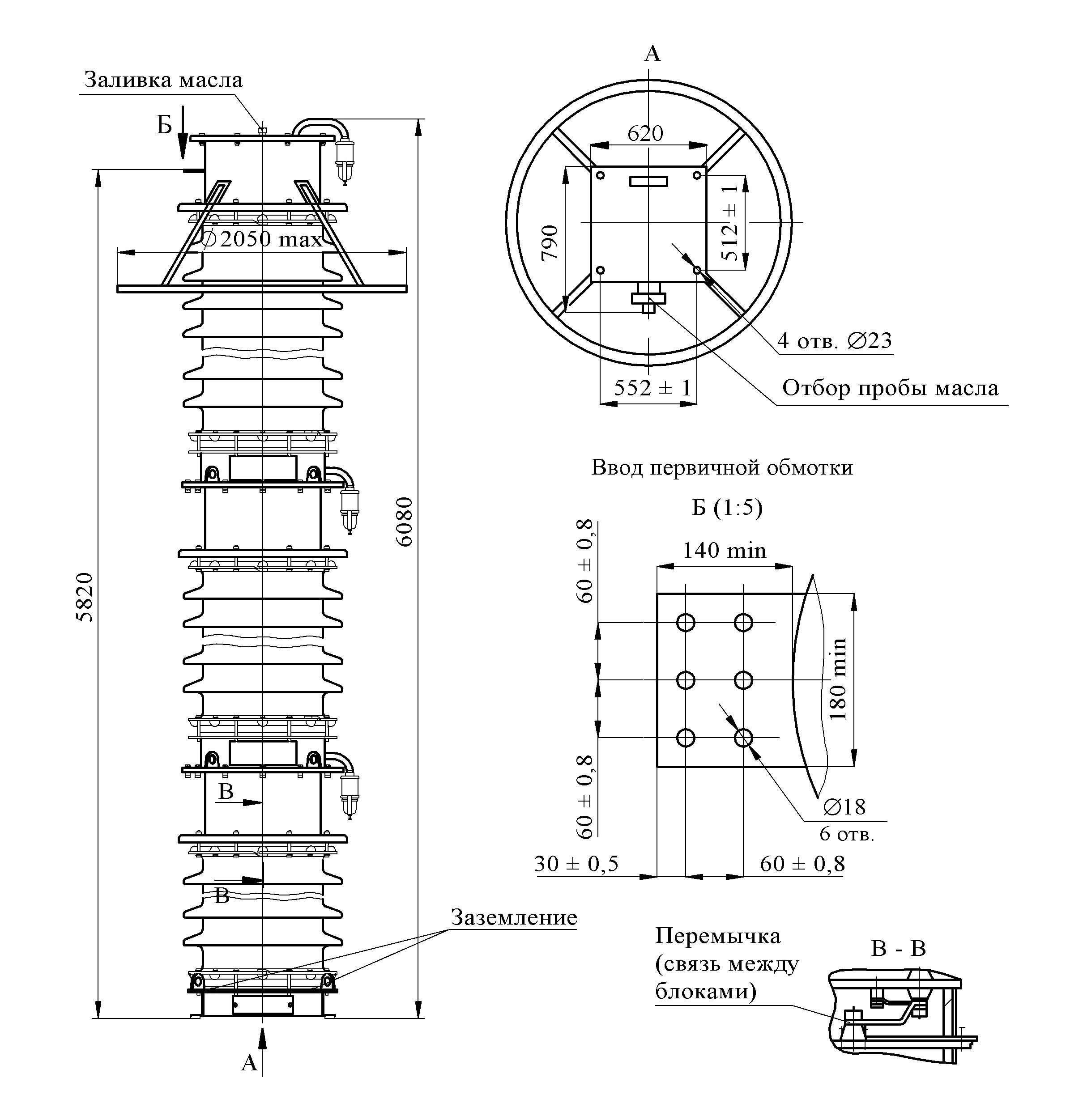 Трансформатор напряжения НКФ–М-400 I У1 (экспорт, класс точности 1,0)