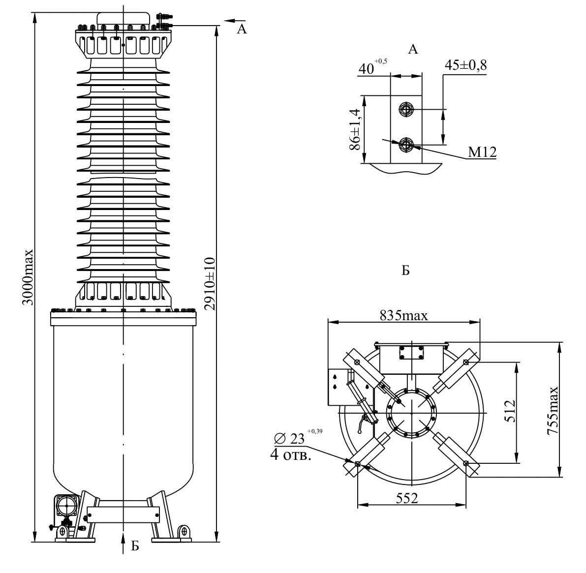 Трансформатор напряжения НОГ - 132 III IV У1