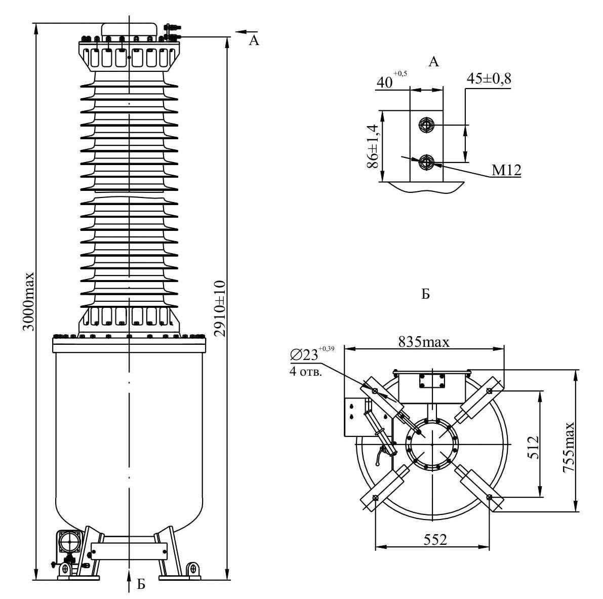 Трансформатор напряжения НОГ - 150 IV II У1