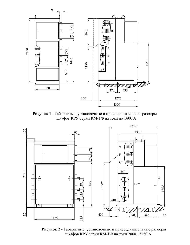 Габаритные размеры комплектного распределительного устройства КМ-1Ф-(6)10-20 У3 (Т3)