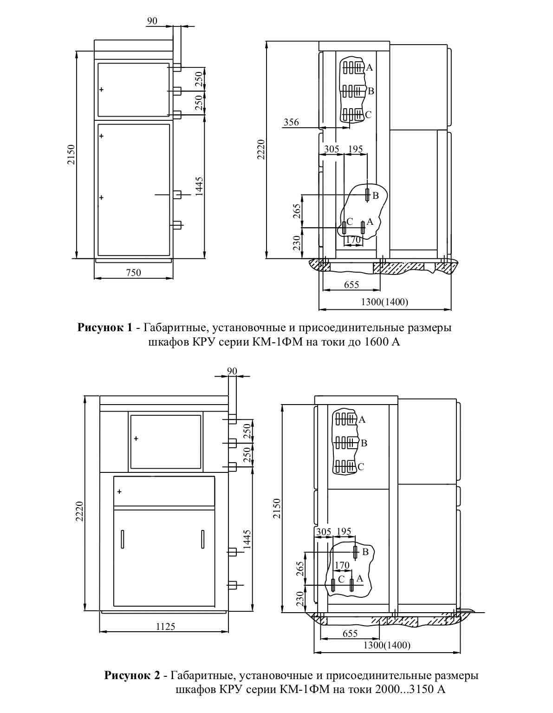 Габаритные раззмеры комплектного распределительного устройства КМ-1Ф-(6)10-20 У3 (Т3)