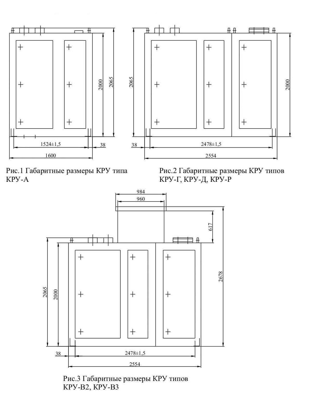 Габаритные размеры комплектного распределительного устройства КРУ РТП-10