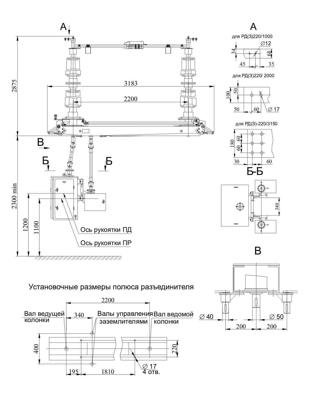 Разъединитель РД(З)-220/1000 УХЛ1